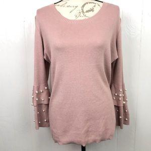 Lauren Hanson Blush Pink Layered Bell Sleeve Top